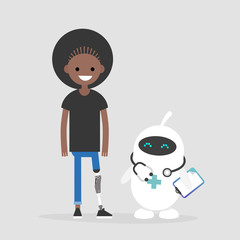 Modern health care. New technologies. Young female disabled character with prosthetic lower limb. Lifestyle. Disability. Cute white doctor robot.
