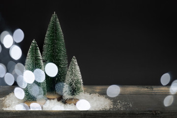 Christmas decoration with three trees and space for your message
