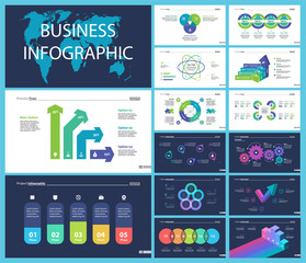 Creative business presentation slide for management concept. Can be used for business project, annual report, web design. Pie chart, process chart, venn chart, bar graph, flowchart, comparison diagram