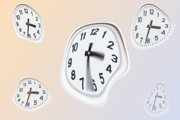 curved white clock on isolated background