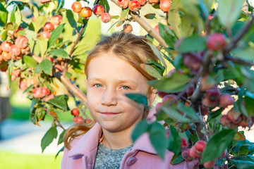 A beautiful girl in a pink coat is standing near an apple tree with fruits in the trees.