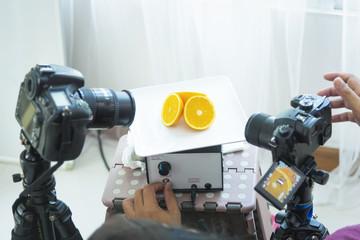 fruit in studio with camera