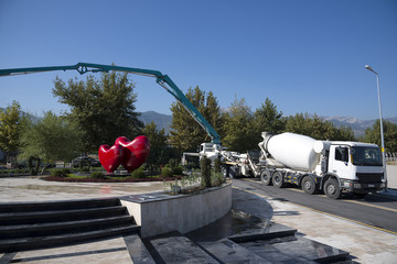 Pouring Cement with Pump Tube