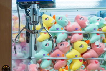 BANGKOK, THAILAND - August 22: Central Ladprao Shopping Center on August 22,2018 in Bangkok, Thailand. Row of the cabinet Claw Game wait for people play catching.