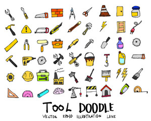 Tool Doodle color icon line vector set eps10