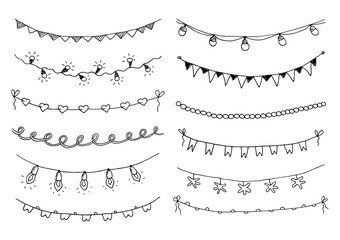 Set of hand drawn sketch garlands with flags and light bulbs.