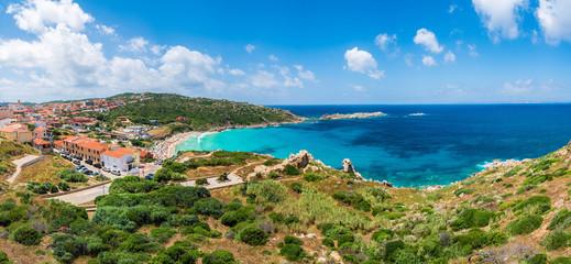 Wall Mural - Landscape with Santa Teresa Gallura and Rena Bianca beach, north Sardinia island, Italy