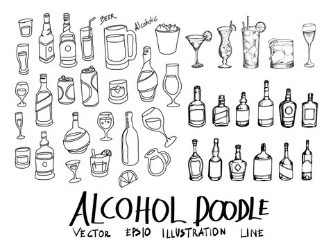 Set of vector alcohol doodle drawing icon Collection on white background eps10