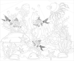 Underwater world. Anti stress coloring book for adult. Outline drawing coloring page. Black and white in zentangle style. Sea, shells. Marine theme.