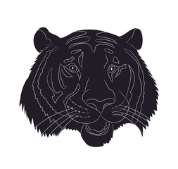 portrait tiger drawing silhouette, vector