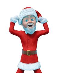 slim santa claus cartoon in a white background