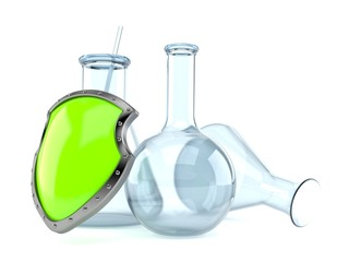 Chemistry flasks with protective shield