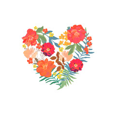 Floral heart with isolated hand drawn flowers. Design for cards,