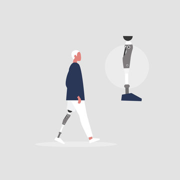 Young male character with prosthetic lower limb. Modern disabled people. Lifestyle. New technologies. Flat editable vector illustration, clip art