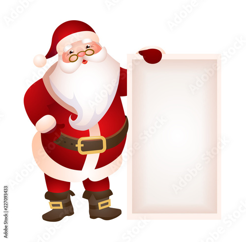 santa claus holding blank banner vector illustration christmas sale new year party