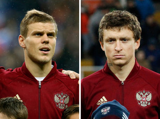 A combination photo shows Russia's soccer players Alexander Kokorin and Pavel Mamayev