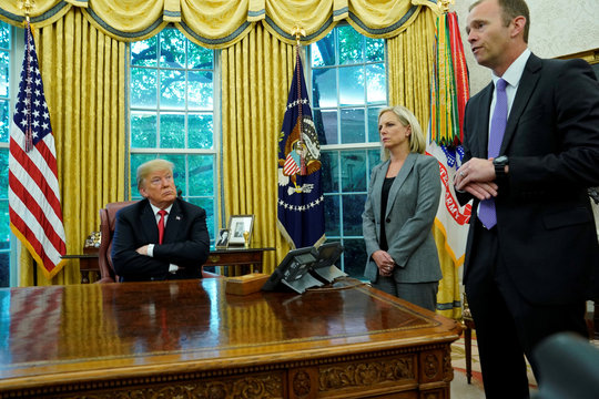 U.S. President Trump meets with DHS Secretary Nielsen and FEMA Director Long at the White House in Washington