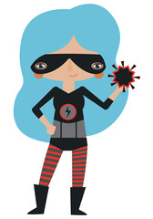Black and red masked superheroine with super atomic powers.