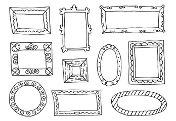 Set of hand drawn sketch frames.