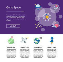 Vector flat space icons landing page template illustration for banner and design of website