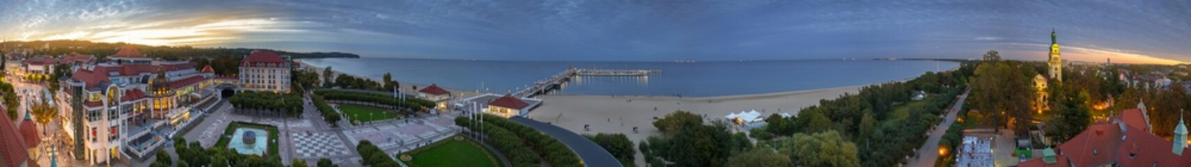 Panorama of Baltic Sea pier (Molo) in Sopot at dusk, Poland