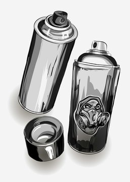 hand drawing spray cans for graffiti. vector illustration