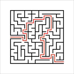 Abstract square maze. Game for kids. Puzzle for children. One entrances, one exit. Labyrinth conundrum. Simple flat vector illustration isolated on white background. With answer.