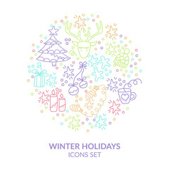 Winter holidays icons set. Pastel colour's theme. Hand drawn illustration  for invitation, flyer, card, poster, t-shirt design or blog post.