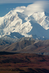 Snowy Denali with lenticular clouds