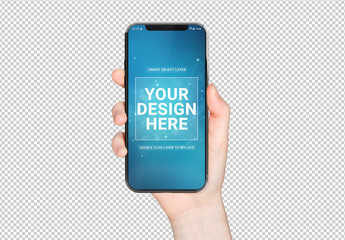 Isolated User's Hand Holding Modern Smartphone Mockup