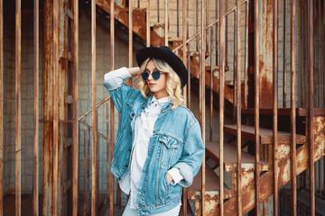 Stylish woman portrait representing urban youth lifestyle