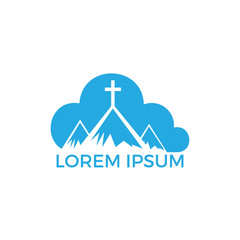 Baptist cross in mountain logo design. Cross on top of the mountain and cloud shape logo.