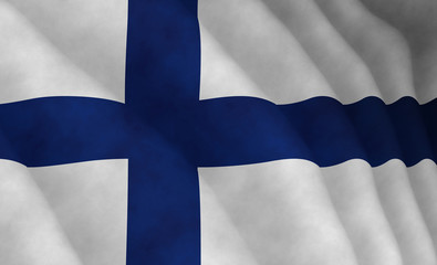 Illustration of a flying Finnish flag