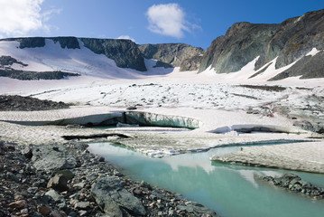 Panorama of the IGAN glacier. Polar Ural, Russia