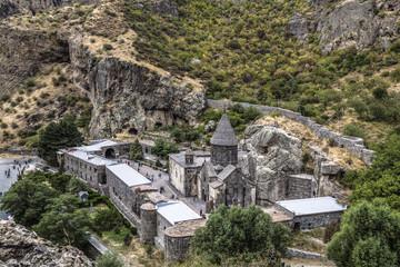 The monastic complex of Geghard, Kotayk region, Armenia. Top view.