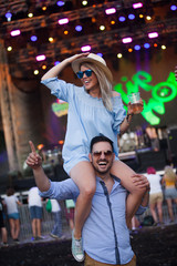 People on music summer festival