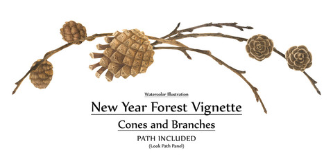 New year design vignette with branches and cones