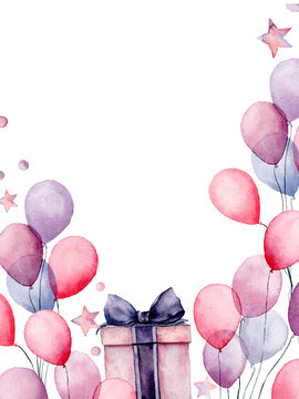 Watercolor birthday decor card with box and airballon. Hand painted gift boxes, air balloons isolated on white background. Pastel decor collection. Holiday illustrations.