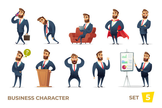 Businessman collection. Bearded charming business men in different situations. Manager character design.