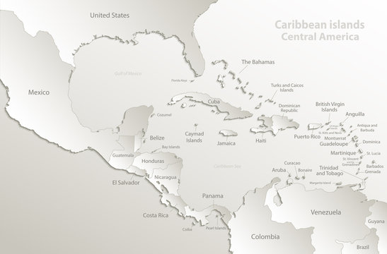 Caribbean islands, Central America map, separate states, state names, card paper 3D natural vector