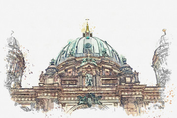 A watercolor sketch or illustration of the Berlin Cathedral called Berliner Dom. Berlin, Germany. City architecture.
