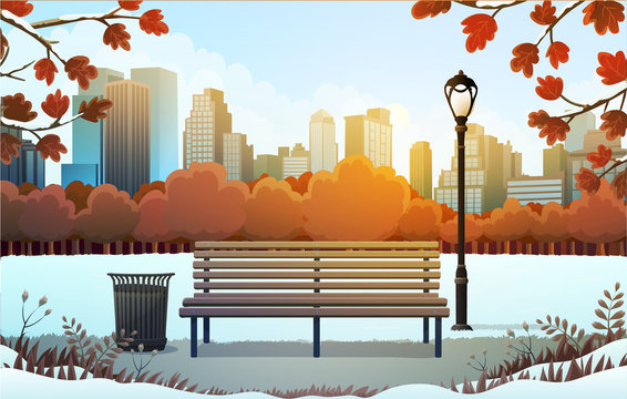Vector illustration of bench and streetlight in city park with skyscrapers background in winter.