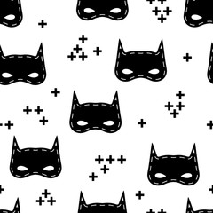 Seamless kids pattern with super hero mask