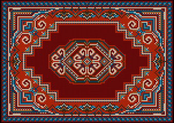 Vintage luxurious motley carpet in red and blue shades with pattern on a burgundy field in the center