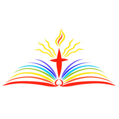 Shining Cross with a flame over an open rainbow book, bible