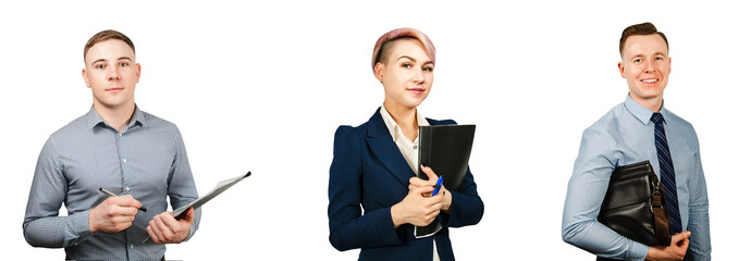 Set of portraits of young business people isolated on a white background.