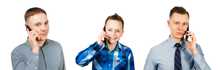 Set of portraits of young people with smartphone isolated on a white background.