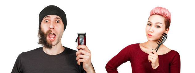 Set of portraits of young people isolated on a white background. Young man with half-shaved beard holds clipper. Young girl holds comb.