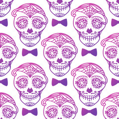 Seamless pattern Man with make up of sugar skull. Dia de los muertos. Mexican Day of the dead. Vector illustration hand drawing