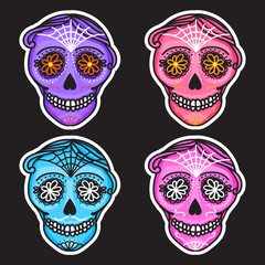 Set color Calavera sign Dia de los muertos. Mexican Day of the dead. Vector hand drawing illustration man sticker.
